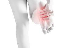 剧痛在白色背景隔绝的妇女脚 在白色背景的裁减路线 库存图片