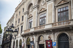 剧院、Teatre校长或者Teatre de la圣诞老人Creu门面  它是最旧的城市剧院,从16世纪工作 库存照片