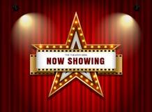 剧院与聚光灯的标志星 库存图片