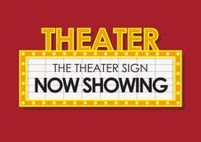 剧院发光的减速火箭的戏院标志 免版税库存图片