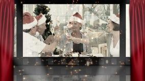 剧院和圣诞节家庭动画 股票录像