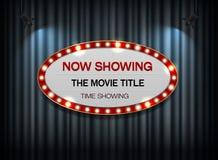 剧院在帷幕的标志椭圆 免版税库存照片