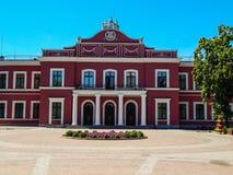 剧院大厦的美丽的门面 乌克兰Kirovograd 2018 6月20日,社论 免版税库存照片