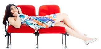 剧院孤立白色背景的可爱的亚裔女孩20s 图库摄影