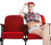 剧院孤立白色背景的可爱的亚裔女孩20s 免版税图库摄影