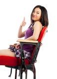 剧院孤立白色背景的可爱的亚裔女孩20s 库存图片