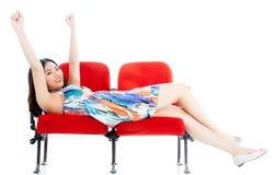 剧院孤立白色背景的可爱的亚裔女孩20s 库存照片