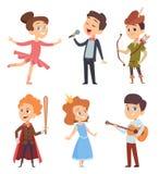 剧院孩子 做表现的孩子在行动姿势的学校阶段传染媒介滑稽的字符剧院演员 向量例证