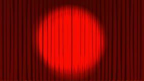 剧院帷幕打开和聚光灯的动画 皇族释放例证