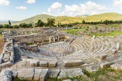 剧院废墟在古老Messinia,希腊 库存图片