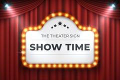 剧院戏院标志 电影光框架,在红色背景的减速火箭的大门罩横幅 传染媒介电灯泡现实广告牌 向量例证