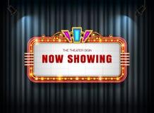 剧院标志减速火箭在有聚光灯的帷幕 库存照片