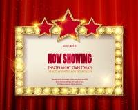 剧院标志或戏院标志在红色帷幕 免版税图库摄影