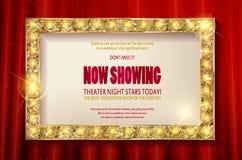 剧院标志或戏院标志在红色帷幕 库存图片