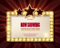 剧院标志或戏院标志在红色帷幕 免版税库存照片