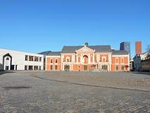 剧院正方形在克莱佩达,立陶宛 免版税库存照片