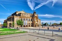 剧院正方形(Theaterplatz)在德累斯顿的历史的中心 免版税库存图片