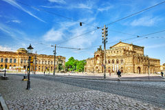 剧院正方形(Theaterplatz)在德累斯顿的历史的中心 库存照片