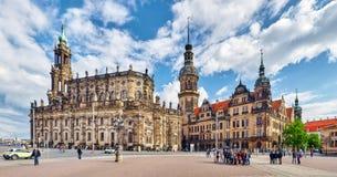 剧院正方形(Theaterplatz)在德累斯顿的历史的中心 免版税库存照片