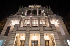 剧院比勒费尔德德国在晚上 免版税库存图片