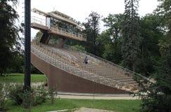 剧院独特的旋转的观众席在捷克克鲁姆洛夫 免版税库存图片