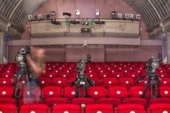 从剧院的电视广播 截去数字路径专业人员录影的照相机 图库摄影