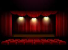 剧院阶段帷幕背景 免版税库存照片