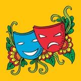 剧院面具、戏曲和喜剧 库存例证