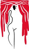 剧院面具和赤裸女孩剪影 库存照片
