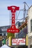 剧院巴黎在波特兰老镇-波特兰-俄勒冈- 2017年4月16日 库存图片
