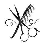 剪刀、梳子和头发剪影 向量例证