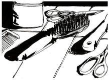 剪刀刷子和梳子 皇族释放例证