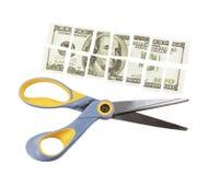 剪刀削减了一百元钞票成许多零件 库存照片