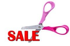 剪刀和打折扣销售文本概念 免版税库存图片