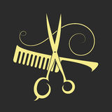 剪刀和梳子美容院的 库存例证