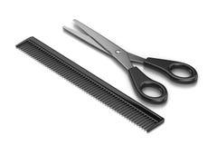 剪刀和梳子 向量例证