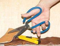 剪刀和皮革 免版税库存图片