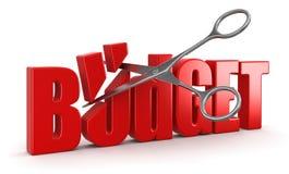 剪刀和预算(包括的裁减路线) 库存例证