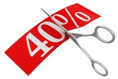 剪刀和40% (包括的裁减路线) 免版税库存图片