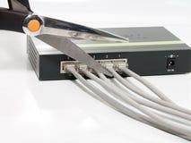 剪切去的无线的连接数 库存照片
