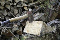 剪切木柴 免版税库存照片