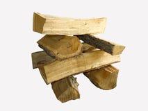 剪切火在栈白色木头的查出的日志 库存图片