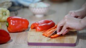 剪切甜椒 做与鸡和甜椒的玉米粉薄烙饼 股票录像