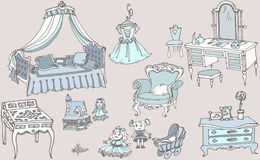 剪影、女孩室蓝色颜色的套家具和玩具 库存图片