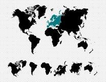 黑剪影世界地图EPS10传染媒介f 库存图片