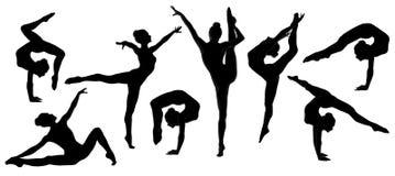 剪影体操运动员舞蹈家芭蕾舞女演员集合 免版税库存照片