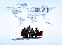 剪影全球企业会议概念 库存照片