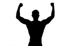 剪影后面坚强的体育人被伸出的胳膊显示摆在白色背景的健身身体 免版税库存照片