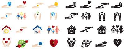 剪影和五颜六色的慈善和捐赠乐趣的各种各样的类型 免版税库存图片