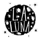 剪影图表例证神秘主义者和隐密手拉的标志 在月亮书法手拉的字法的讲话激动人心 库存例证